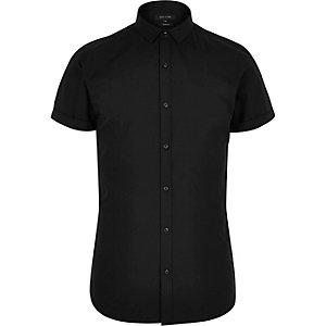 Zwart slim-fit overhemd met korte mouwen