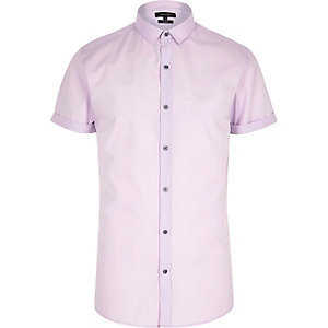Purple short sleeve slim fit shirt