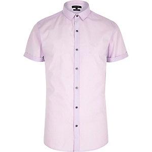 Chemise slim violette à manches courtes