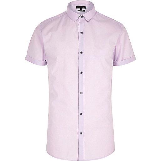 Purple short sleeve slim fit shirt