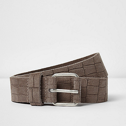 Light brown croc print leather belt