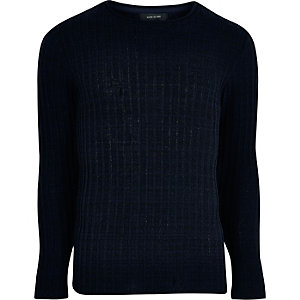Navy blue ribbed crew neck jumper