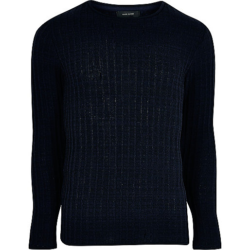 Navy blue ribbed crew neck sweater