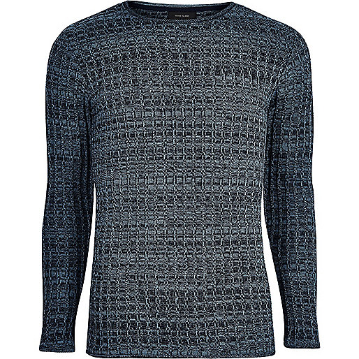 Blue ribbed crew neck knit sweater