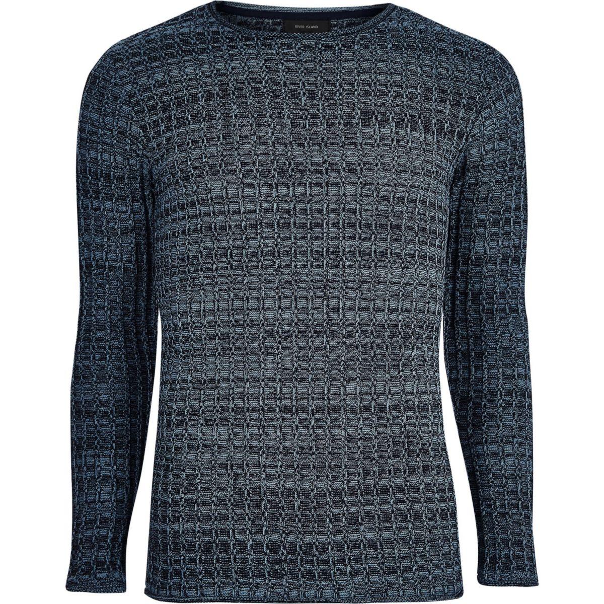Blue ribbed crew neck knit jumper
