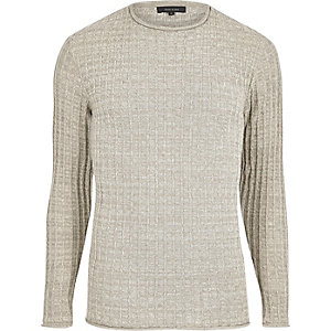 Stone ribbed slim fit crew neck jumper