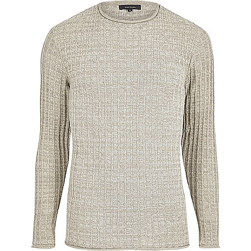 Stone ribbed crew neck jumper
