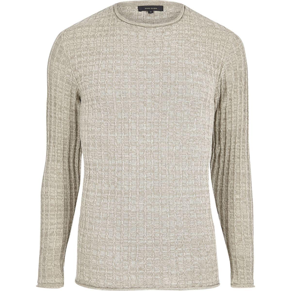 Stone ribbed crew neck sweater