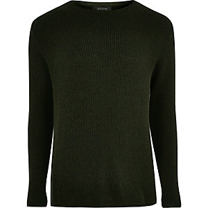 Khaki green textured jumper