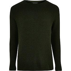 Strukturierter Pullover in Khaki