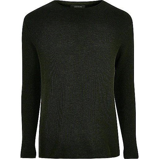 Khaki green textured jumper