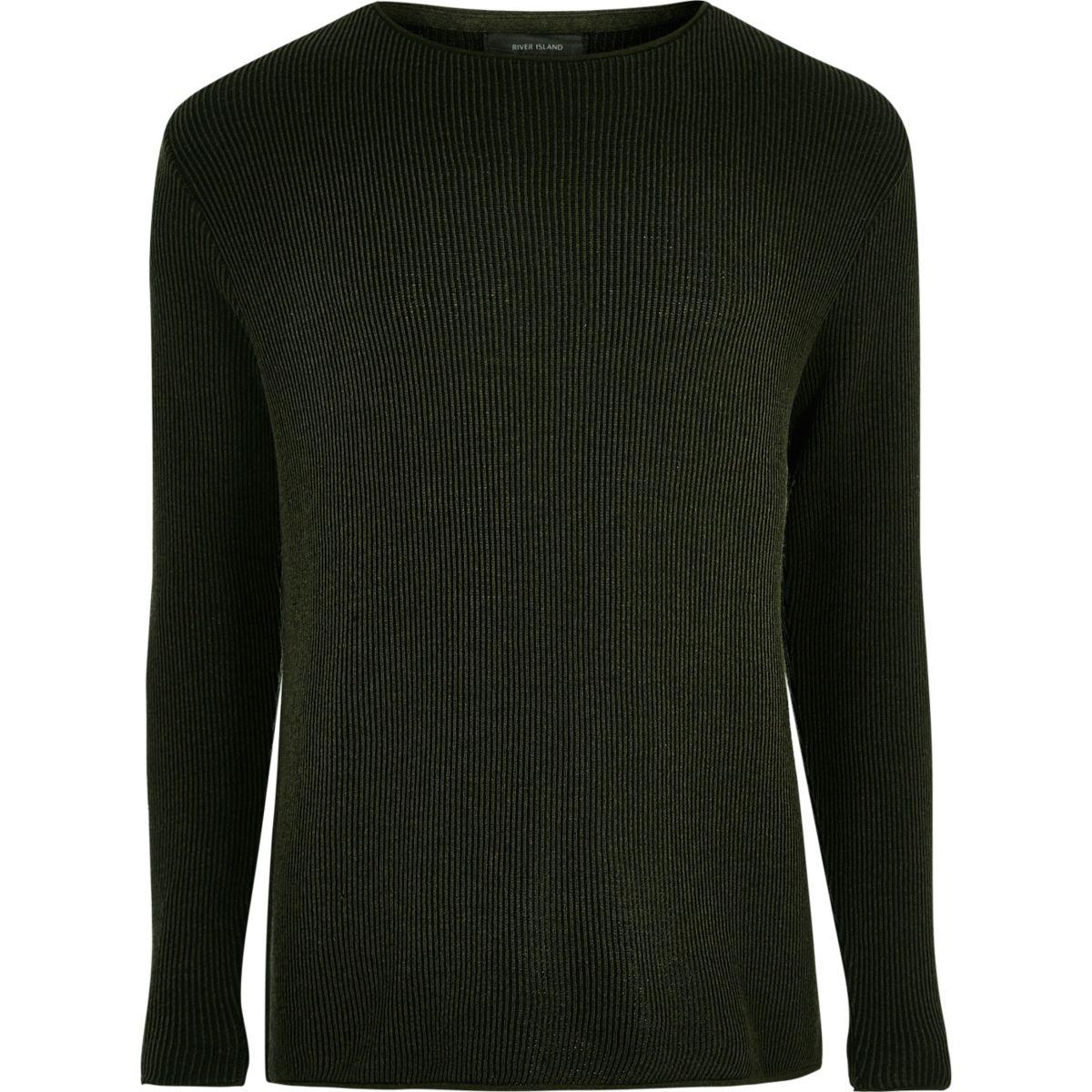 Khaki green textured sweater