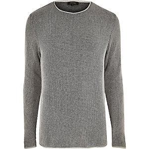 Grey textured long sleeve top