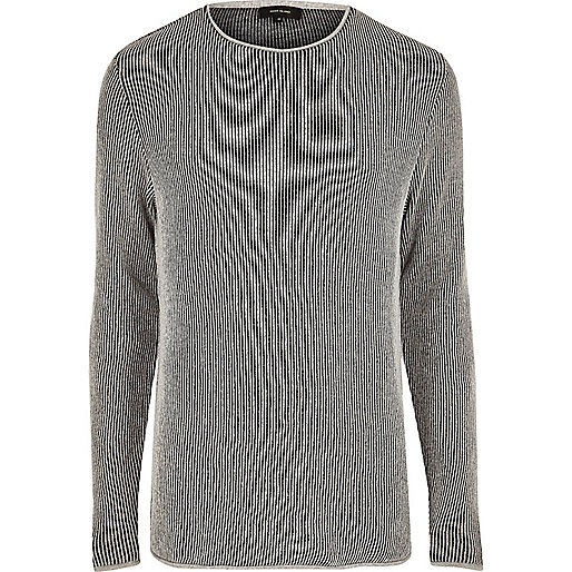 Grey textured long sleeve top