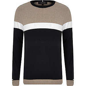 Black knit colour block jumper