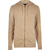 Camel zip front long sleeve hoodie