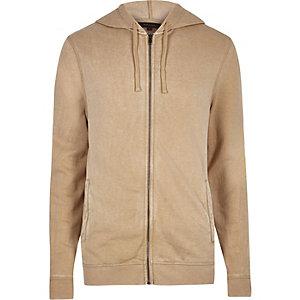 Camelkleurige hoodie met lange mouwen en rits voor