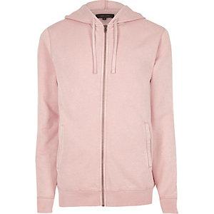 Roze burn-out hoodie met rits voor