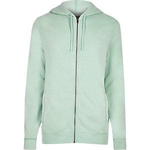 Lichtgroene hoodie met lange mouwen en rits voor