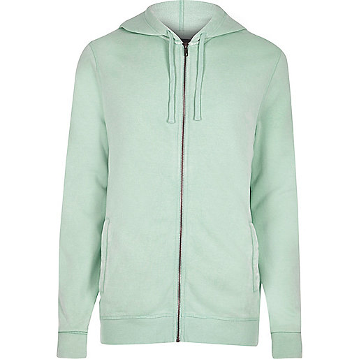 Light green zip front long sleeve hoodie