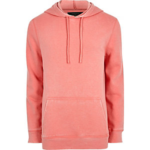 Sweat à capuche en jersey rose effet usé