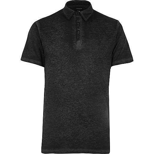 Grey burnout jersey slim fit polo shirt