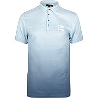 Navy slim fit dip dye polo shirt