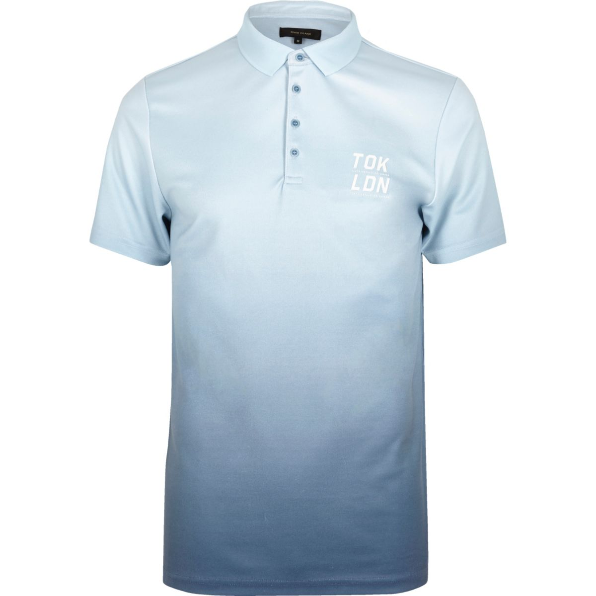 Navy slim fit dip dye polo shirt