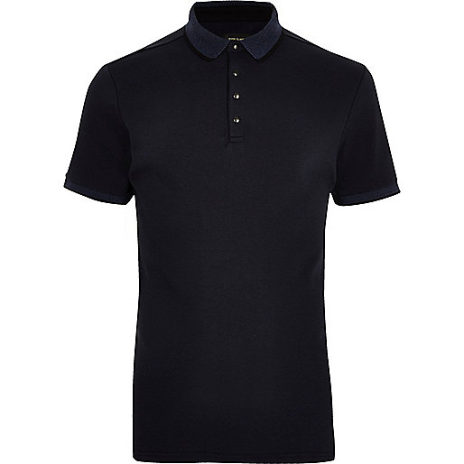 Navy popper slim fit polo shirt