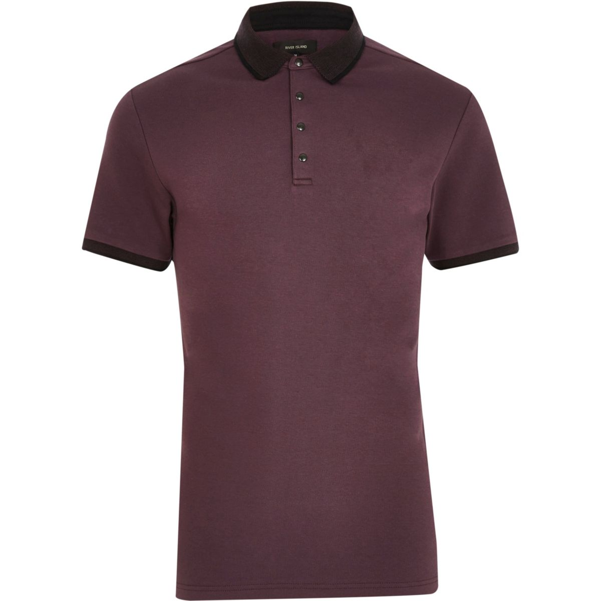 Purple popper slim fit polo shirt
