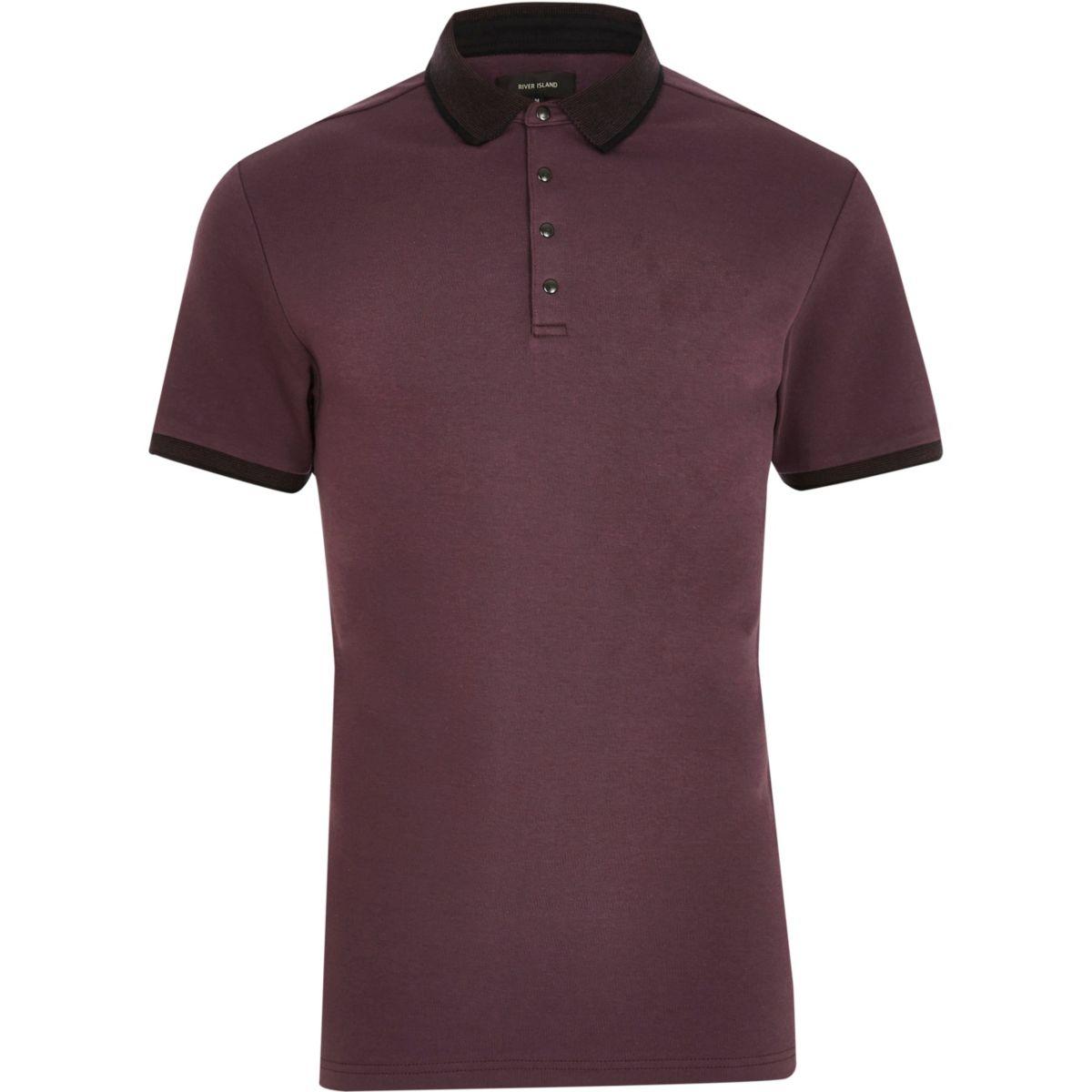 Purple popper slim fit polo shirt