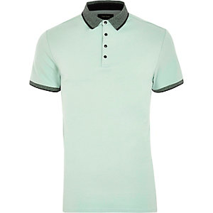 Mintgrünes Slim Fit Polohemd