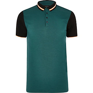 Blue contrast slim fit polo shirt