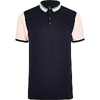 Navy contrast slim fit polo shirt
