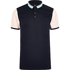 Marineblauw contrasterend slim-fit poloshirt