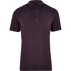 Polo slim en jersey violet effet usé