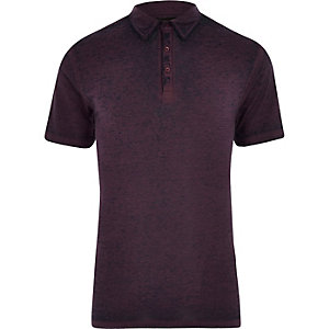 Paars burnout jersey slim-fit poloshirt