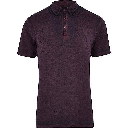 Purple burnout jersey slim fit polo shirt