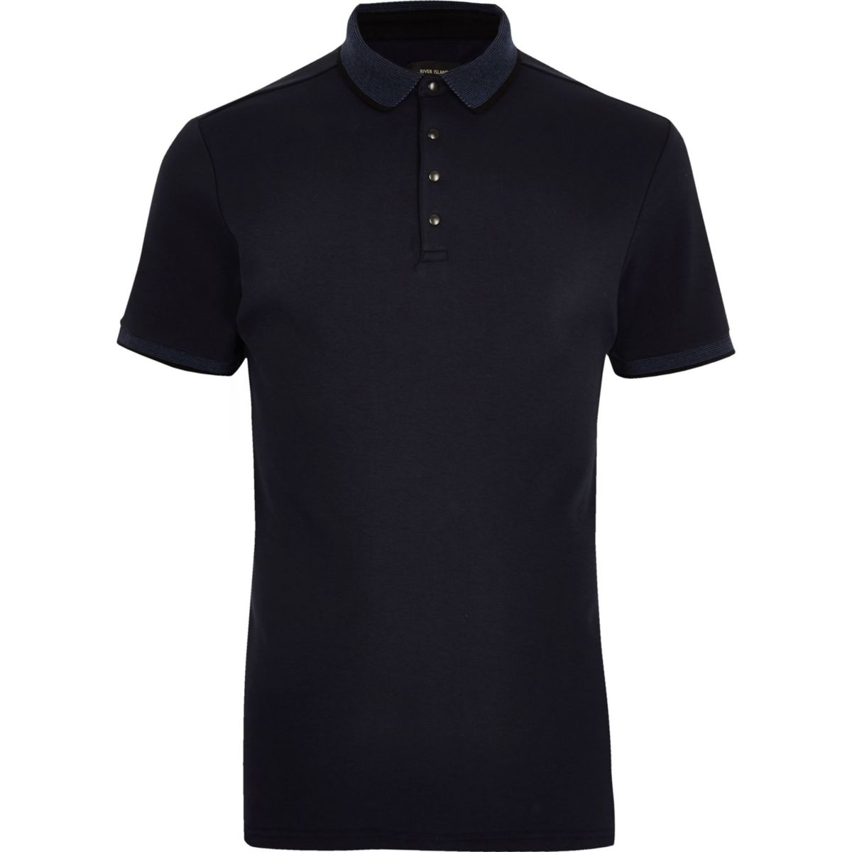 Big and Tall navy tipped polo shirt