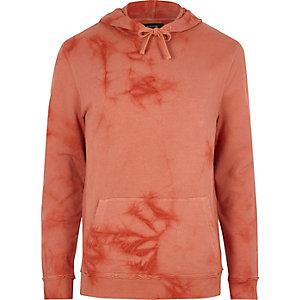 Sweat à capuche orange motif éclaboussure tie-dye