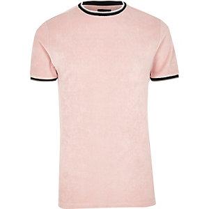 T-shirt ras-du-cou en éponge rose à liserés