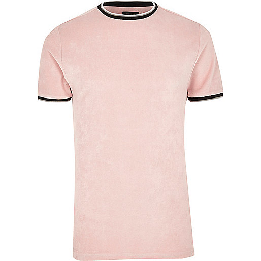 Pink tipped crew neck towelling T-shirt
