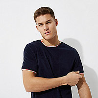 Navy tipped crew neck towelling T-shirt