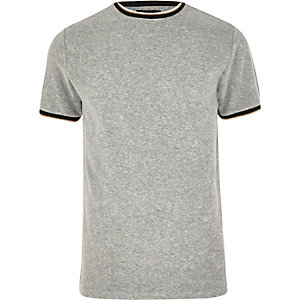 Grey tipped crew neck towelling T-shirt
