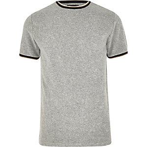 T-shirt ras-du-cou en éponge gris à liserés