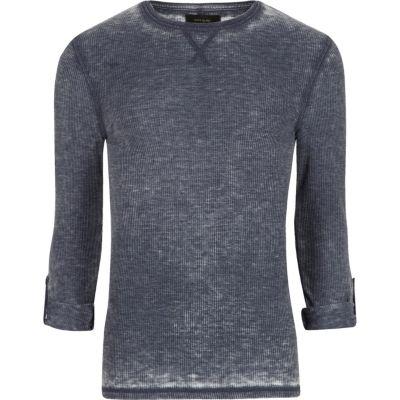 Blauw burn-out T-shirt met wafeldessin en lange mouwen