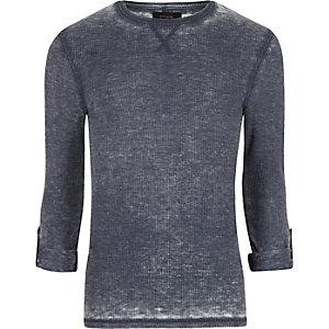 Langärmliges T-Shirt mit Waffelstruktur