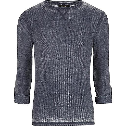 Blue burnout waffle long sleeve T-shirt