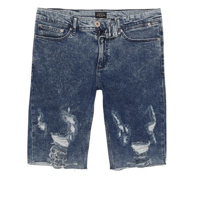Blauwe acid wash ripped skinny-fit denim short