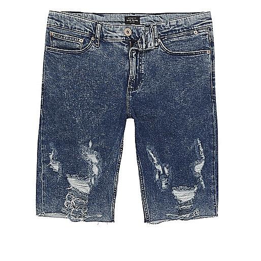 Blue acid wash ripped skinny fit denim shorts